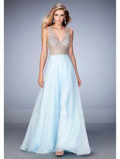 A-line V-Neck Sweep Train Chiffon Prom Dress With Beaded Crystal