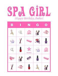 Personalized Spa Girl Bingo Game