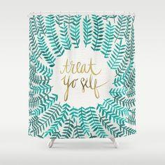 Treat Yo Self – Gold & Turquoise Shower Curtain