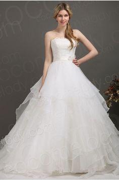 New Design Princess Strapless Chapel Train Organza Wedding Dress CWLT13096 #weddingdress #cocomelody