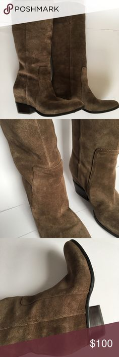 """Crown vintage tall brown suede boots Crown vintage tall brown suede boots. Heel is 1 1/2"""". Boot is 17"""" high. Excellent condition. Only wore once inside to my sons wedding rehearsal party. Crown Vintage Shoes Heeled Boots"""