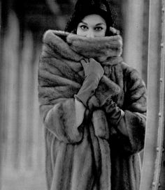 Model in SAGA mink coat with large shawl-collar by Maggy Rouff, photo by Georges Saad, 1957
