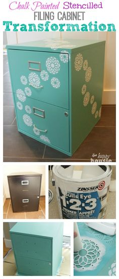 One Bliss - fully Flowered Chalk Painted Stencilled Filing Cabinet - The Happy Housie Painted File Cabinets, Diy Cabinets, Painting Metal Cabinets, File Cabinet Paint, File Cabinet Organization, Garage Organization, Organization Ideas, Filing Cabinet Desk, Sewing Cabinet