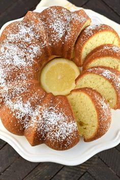 Lemon Bundt Cake Recipe {Italian Cake} Lemon Bundt Cake or Italian Lemon Cream Cake is bursting with lemon flavor and makes a great breakfast cake! It's fast and easy, and beautiful too. Lemon Cream Cake, Lemon Bundt Cake, Bundt Cakes, Lemon Desserts, Fun Desserts, Delicious Desserts, Italian Cream Cakes, Italian Cake, Italian Desserts