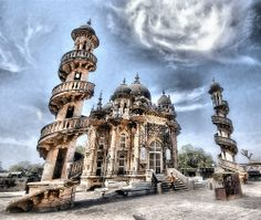 Mahabat Maqbara, a mausoleum in Indo-Islamic architectural style built in 1892 over the grave of Nawab Mahabat Khan II (1851-82), with spiral staircases. India. Photo by Amish_Patel, via Flickr
