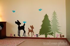 """This is my daughters bedroom """"woodland creature"""" themed! Great Decals on Etsy  $125.00"""