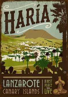 Wooden vintage sign: drawing, painting of Haría - Lanzarote - Jardin del Mar Expensive Art, Arte Pop, Famous Places, Driftwood Art, Island Beach, Canary Islands, New Travel, Vintage Travel Posters, Wooden Signs