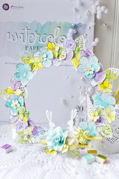 """""""Easter is coming and it's the right time to make some home decoration. Let your kids join you in stamping, painting and cutting flowers for this Easter wreath, you'll see it's really fun!"""" ~ Vera Shelemekh #watercolor #Easter #wreath"""