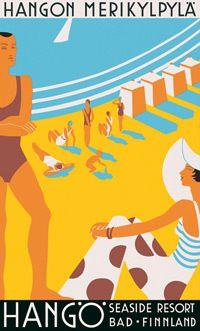 Hanko (Finland) seaside resort vintage travel poster from Vintage Advertisements, Vintage Ads, Poster Ads, Poster Prints, Beach Posters, Travel Ads, Art Abstrait, Vintage Travel Posters, Retro Posters