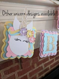 This listing is for one unicorn banner with a word(s) of your choice. Each unicorn pennant features three beautiful, hand-crafted paper flowers and a gold, glitter horn. The letter pennants will be on alternating pink, purple, yellow and blue pennants. 3d Paper Flowers, Unicorn Banner, First Birthday Decorations, Happy Birthday Banners, Unicorn Baby Shower, Unicorn Crafts, Unicorn Birthday Parties, 4th Birthday, First Birthdays