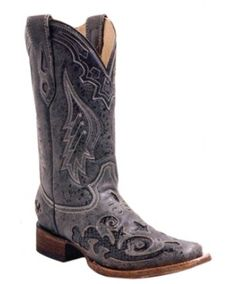 Corral Black Snake Inlay Square Toe Cowgirl Boots