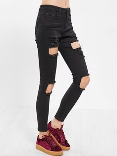 21$  Buy now - http://diffe.justgood.pw/go.php?t=15864 - Black Distressed Skinny Jeans