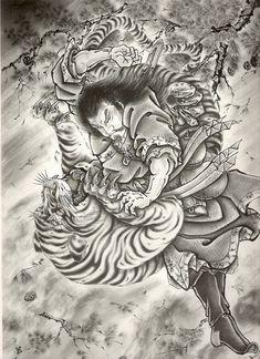 Air brush over a pencil sketch Traditional Japanese Kunst Tattoos, Irezumi Tattoos, Skull Tattoos, Japanese Drawings, Japanese Artwork, Traditional Tattoo Design, Traditional Japanese Tattoos, Samurai Tattoo, Samurai Art