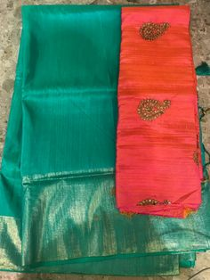 The most demanded item Soft raw silk plain with gold print border with antique work blouse@2400+$ Order what's app 7093235052