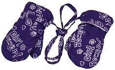 Baby girl mittens with string, with a smooth micro fleece fabric on the interior, and the Velcro closure keeps mittens snug on babies hands. Available in a variety of fun prints.