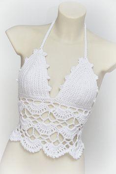 White boho crochet top. White halter top by SexyCrochetByOlga