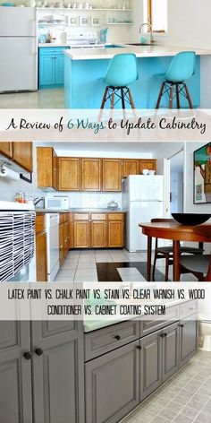 Review of several options for refinishing cabinets: like that it talks about time involved, use of chemicals, cleanability