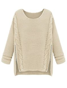 To find out about the Apricot Long Sleeve Side Zipper Cable Knit Sweater at SHEIN, part of our latest Sweaters ready to shop online today! Diy Pullover, Beige Pullover, Pullover Mode, Beige Sweater, Loose Sweater, Cable Knit Sweaters, Pullover Sweaters, Zip Sweater, Sweater Coats