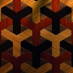 Bespoke Multiple Wood Geometric Parquet This Bespoke Multiple Wood Geometric Parquet is from Italian designer Quadrolegno. Just one of a range of customisable geometric designs, this flooring is available in a variety of woods including; Padauk, Zebrawood, Wenge and European Walnut. This particular design has been brushed for texture and micro-beveled along its edges to help accentuate the geometric pattern.