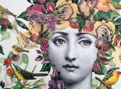 Image result for decoupage furniture woman with floral headdress