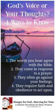 God's Voice or My Thoughts? How to Know the Difference ~ When I went to bed that night, I knew who was right—I was. When I awakened the next morning, I wasn't so sure. Christian Faith, Christian Quotes, Christian Church, Christian Living, Bible Scriptures, Bible Quotes, Jesus Quotes, Religion, Bible Love