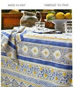 Mirabello Italy Cotton Tablecloth Lemons Floral Stripe Blue Yellow 63 x 102 NEW