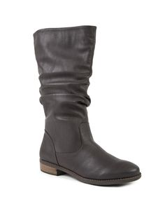 Leather Look Slouch Boots