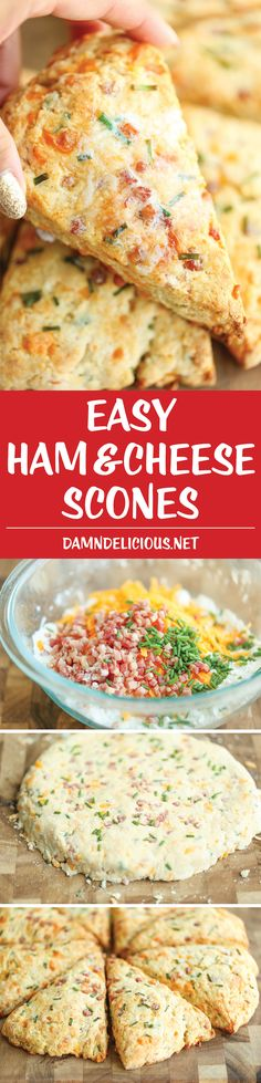 Ham and Cheese Scones - Easy peasy ham and cheddar scones perfect for any time of day - perfect as breakfast, snack-time, appetizer or with a bowl of soup! (recipes for snacks breakfast ideas) Breakfast Desayunos, Breakfast Dishes, Breakfast Recipes, Scone Recipes, Mexican Breakfast, Breakfast Sandwiches, Breakfast Casserole, Breakfast Ideas, Bread Recipes