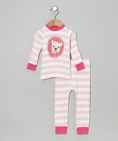 Take a look at this Pink Stripe Lion Pajama Set - Infant, Toddler & Girls by Cat & Cow on #zulily today!