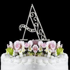 Romanesque ~ Swarovski Crystal Wedding Cake Topper ~ Letter A
