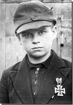 Nazi Germany was fighting with boys in the last days. This boy was given the Iron Cross.