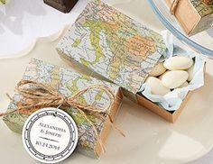 SET OF 24 Around the World Map Favor - World Map Favor Box - Vintage Wedding…