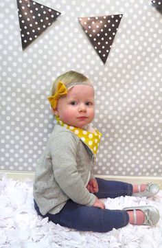 Vintage Mustard and Gray Bow Headband//Women's by PositivelyOakes, $7.00
