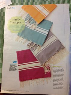 All cotton, lightweight, and big, foutas are just as absorbent terry towels, dry quicker, and are a cinch to tote and store. $40 from www.basicfrenchonline.com