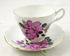 Vintage Royal Ascot Tea Cup and Saucer with Purple Flowers, English Bone China, Vintage Teacup and Saucer
