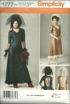 Simplicity Pattern 1772 Women Gothic Style Bride Wedding Dress Costume 12-20  #Simplicity