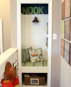 ~If you have a closet that isn't getting much use, then why not transform it into a reading nook for your kiddo?  This step by step tutorial will show you how to build your own!