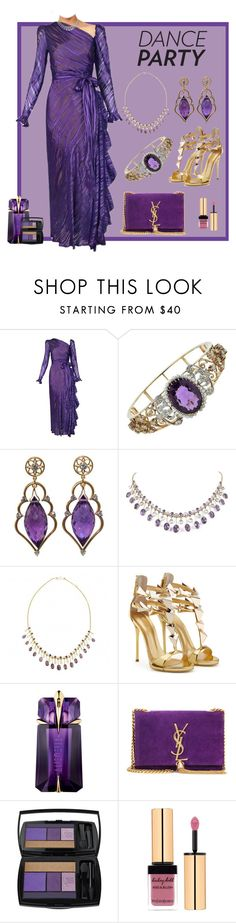"""""""Dance Party - Dressed in Purple and Gold"""" by jonna-hansen ❤ liked on Polyvore featuring Yves Saint Laurent, Wayne Smith Jewels, Turner & Tatler, Thierry Mugler and Lancôme"""
