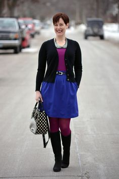 Already Pretty outfit featuring black cardigan, Peter Pan collar necklace, magenta tank, purple Theory skirt, magenta tights, black ECCO Sculptured 65 boots, Kate Spade polka dot bag