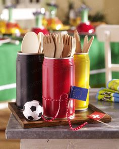 Soccer party utensil holders (love the idea of incorporating the red & yellow cards)
