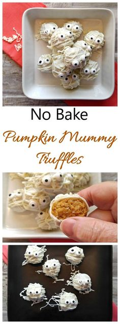 These no bake mummy truffles have a creamy cheesecake pumpkin center and white chocolate coating. They are so much fun to make and to eat! #pumpkindesserts #mummydesserts #halloweendesserts