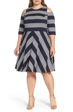 Main Image - Eliza J Stripe Cold Shoulder Fit & Flare Dress (Plus Size)