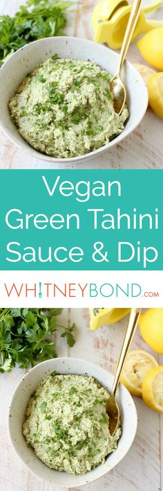 This healthy, vegan and gluten free Green Tahini Sauce Recipe is perfect for topping buddha bowls, chicken and fish, or serve it as a dip with veggies!