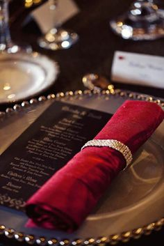 Black linens, deep red napkins. The Shining Inspired Glam Goth Wedding · Rock n Roll Bride