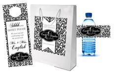 Elegant Black and White Custom Wedding Welcome Bag Set - 3.50 per set.  by 4WeddingWelcomeBags
