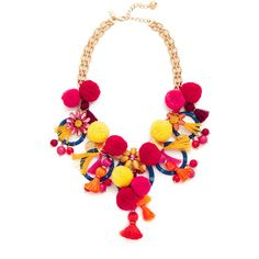 Kate Spade New York Pretty Poms Statement Necklace (2.139.790 IDR) ❤ liked on Polyvore featuring jewelry, necklaces, multi, gold plated necklace, lobster clasp necklace, gold plated jewellery, tassel necklace and adjustable necklace