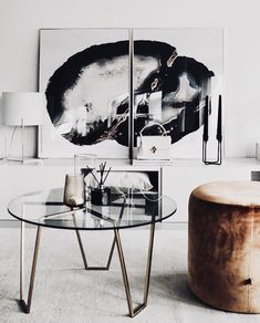 contemporary black & white + wall art living room #moodboard