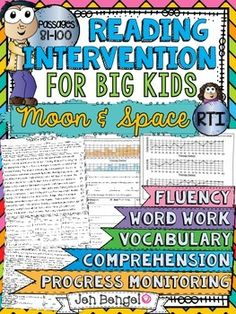 Reading Intervention Program for Big Kids: Set 5- Moon and Space! This resource includes daily intervention lessons for a month! It includes 20 fluency passages all based on Earth Science topics, targeted comprehension, word work, and vocabulary for each day. It also includes progress monitoring line graphs, bar graphs, and so much more!! ($)