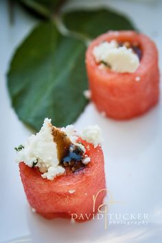 David Tucker Photography of Capers Catering ~ watermelon, feta, and mint hors d'oeuvres