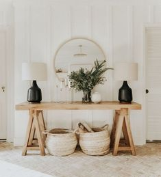 The Entry Table Ideas are small things we require to think about for space decor. The Entry Table Ideas are small things we require to think about for space decor especially for spe Entryway Console, Entryway Decor, Modern Entryway, Entryway Ideas, Cottage Entryway, Wall Decor, Hallway Ideas, Entrance Table Decor, Entryway Table Modern